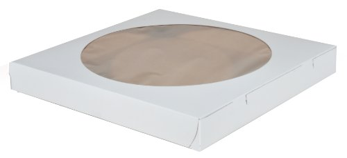 Southern Champion Tray 2350 Clay Coated Kraft Paperboard White Lock Corner Window Bakery Box, 14' Length x 14' Width x 1-3/4' Height (Case of 100)