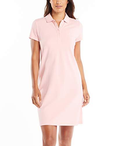 Nautica Women's Easy Classic Short Sleeve Stretch Cotton Polo Dress, Aloha Pink, Large