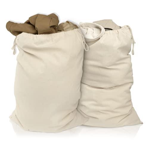 Lot de 2 sacs à linge 50 x 75 cm en 100% coton - très grand sac à linge résistant - collecteur de linge de voyage Boîte à linge réutilisable Rangement de sac à vêtements en couleur naturelle