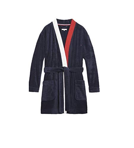 Tommy Hilfiger Bathrobe Bata de baño, Azul (Navy Blazer 416), Small (Talla del Fabricante: SM) para Mujer