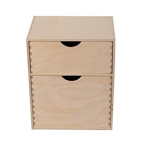 Estantería de madera con 2 cajones, aparador, cómoda para salón, cajonera para dormitorio