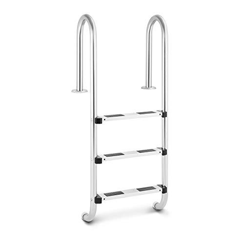 Uniprodo Uni_Pool_Ladder_1320 Poolleiter Edelstahl 3 Stufen Schwimmbadleiter 180 kg Tiefbeckenleiter Enger Holmbogen