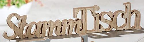 G.H. Grosser Vintage Holzschriftzug als Aufsteller, Modell: Stammtisch, Material Holz, Maße 50 x 9 cm, Farbe Natur, ideal für Gasthaus, Garten, Terrasse, Bar, Cafe, Cafeteria oder einfach Zuhause.