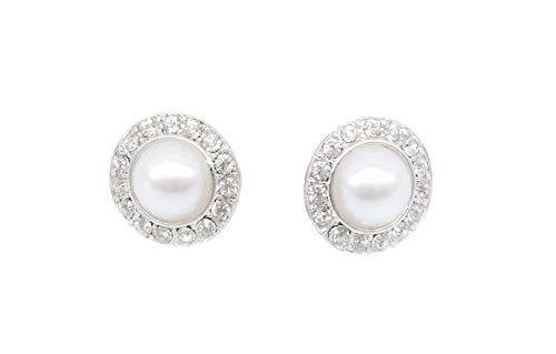 onweerstaanbaar1 Prestigieuze witte parel zilveren oorbellen bedekt met transparante Swarovski kristallen 1,5 cm diameter