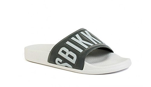 Bikkembergs Sandalen Pantoletten Badeschuhe Made in Italy BKE101784 Weiß-grau-Silber EUR 39