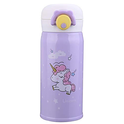 Termo de acero inoxidable de unicornio para niñas, linda taza de botella de agua para interiores y exteriores, aislamiento a prueba de fugas para niños (color púrpura)