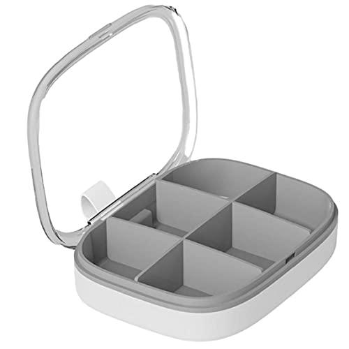 AtheMeet Píldora Caja portátil Píldora Píldora Almacenamiento Recipiente Extraíble 6 Compartimientos Organizador Gris
