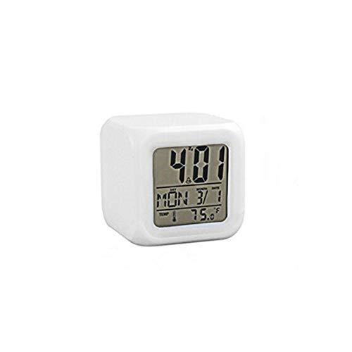 JSJJAQW Despertador 7 Colores LED Digital Alarma Reloj multifunción Reloj electrónico Brillante con termómetro y Calendario (Color : 10)