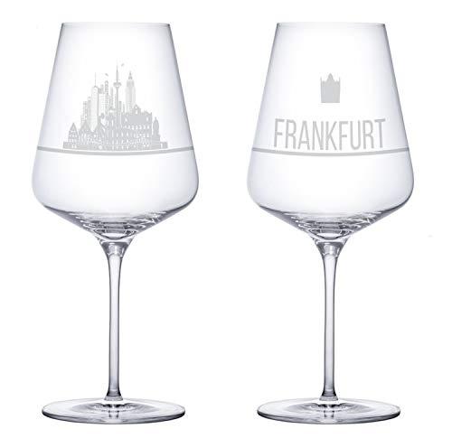 I LOVE Frankfurt Weingläser 2er Set | Weinglas mit Gravur der Frankfurt Skyline | Souvenir Deutschland | Geschenkidee Muttertag, Vatertag, Gastgeschenk | Geschenkbox Deutschland | MADE IN GERMANY