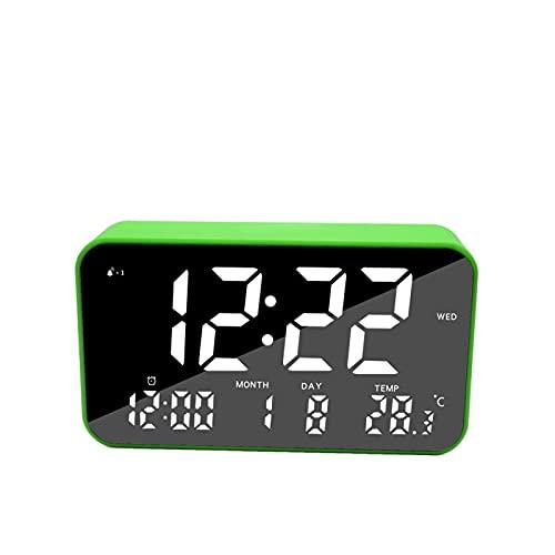 Kfhfhsdgsanz Despertador, Reloj de Alarma Digital,Reloj de Espejo de Maquillaje,Reloj (Color : Green)