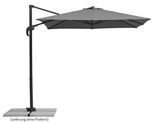 Schneider-Schirme Schneider Rhodos Junior, anthrazit, ca. 230 x 230 cm, 8-teilig, quadratisch Sonnenschirm