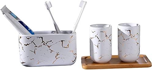 KMILE Traje de Cuatro Piezas patrón Creativo de cerámica Regalo de Boda de la Boda Taza del Cepillo de Dientes (Color : White, Size : Free)