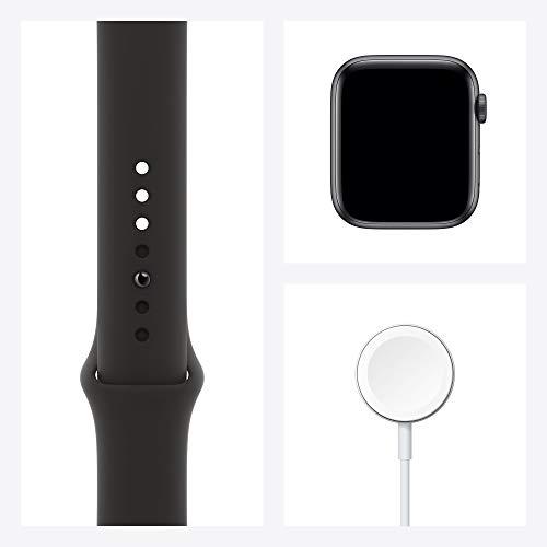 AppleWatch Series6 (GPS+ Cellular, 44 mm) Boîtier en Aluminium Gris sidéral, Bracelet Sport Noir