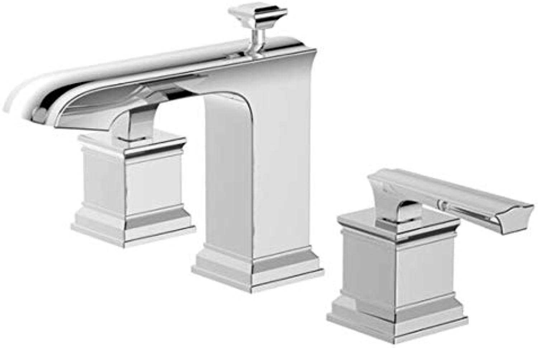 Kai&Guo Waschtischarmaturen Amerika-Stil Messing Badezimmer 8'Ink Wasserhahn verbreitet 3-Loch-Waschtisch-Mischbatterie, Chrom