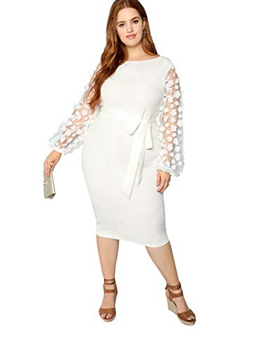 SheIn Women's Plus Size Elegant Mesh Contrast Pearl Beading Sleeve Stretchy Bodycon Pencil Dress White X-Large Plus