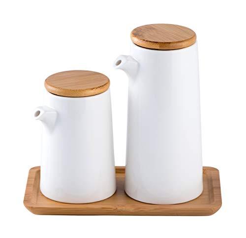 Honey ARGOL | Oil and Vinegar Dispenser Bottle Set, Olive Oil or Soy Sauce Dispenser Set for Kitchen, White Ceramic (Porcelain) Oil Dispenser Cruet, Dressing Dispenser Bottle, Olive Oil Decanter, Decorative Oil Dispensing Bottle Set of 2 with Tray