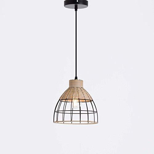Lámpara de Techo Colgante Decoración Boho Moderna | 7hSevenOn Deco Modelo FEI | Lámpara Boho de Ratán y Metal Negro | Lámpara de Interior para Comedor, Salón. | 22x22x21cm