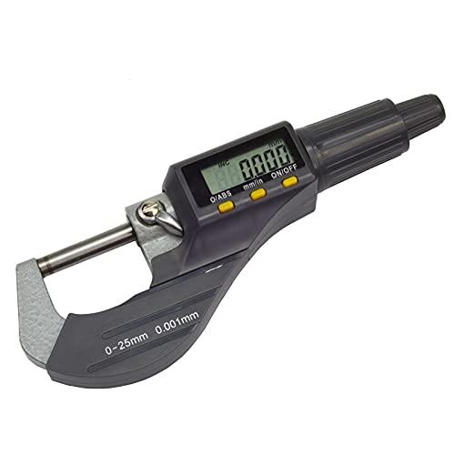 CAIJINJIN Micrómetro 0.001mm electrónico Fuera Micrómetro Carbide Tip Medir herramientas de pinza del Medidor de 0-25mm 1 pulgada Micromaster micrómetro digital Cabeza ( Color : Digital micrometer )
