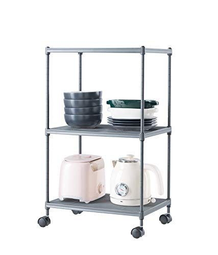 Ovicar 3-Tier Steel Wire Storage Shelves Adjustable Utility Closet Shelving Rack with Wheels Small Kitchen Metal Mesh Wire Pantry Shelving Unit Durable Organizer Garage Tool Storage Shelf Cart