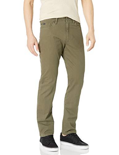 RVCA Men Daggers Slim-Straight Twill Pants Green 32
