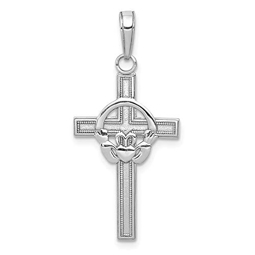 Solid 14k White Gold Celtic Irish Claddagh Cross Pendant Charm 29mm