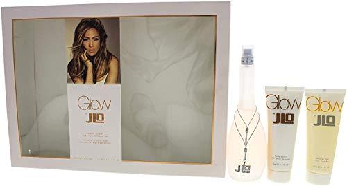 Jennifer Lopez J.Lo Glow Giftset EDT Spray Plus Body Lotion Plus Gel de ducha, 100 ml/75 ml/75 ml