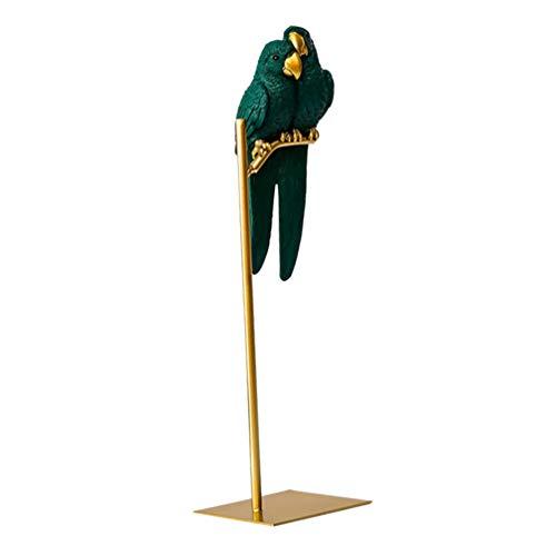 WINOMO Figura decorativa de loro con forma de pareja de macaw, pájaro sobre mesa, de metal, para jardín y decoración de casa, color verde