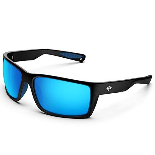 TOREGE Sports Polarized Sunglasses for Men Women Flexible Frame Cycling Running Driving Fishing Mountaineering Trekking Glasses TR24 (Matte Black & Purple Blue & Ice Blue Revo Lens)