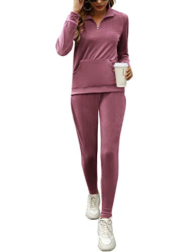 Irevial Lounge Sets for Women 2 Piece, Ladies Zip Up V Neck Jogging Suits Long Sleeve Sweatsuits with Sweatpant Velvet Tracksuit Pajamas Casual Loungewear Pink M