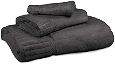 Caravalli Cardiff Bath Towel Set - 3PC Soft Circlet Dark Grey Egyptian Cotton Towel Set - Highly Absorbent & Ultra Soft Bathroom Towel Collection in Piano Key Design - Oeko-Tex Certified Towels
