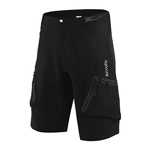SUKUTU Pantaloncini da Ciclismo da Uomo Pantaloncini MTB Pantaloncini da Mountain Bike Pantaloncini da Ciclismo Larghi e Larghi Traspiranti