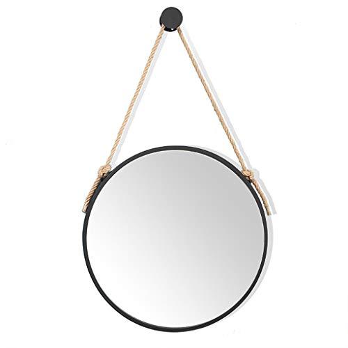 Ronde HD Vanity Make Up Mirrors avec Corde de Chanvre Home Decor Tenture Murale Dressing Miroir Cosmétique pour Salle De Bains Noir Cadre en Métal Miroir À Rasoir