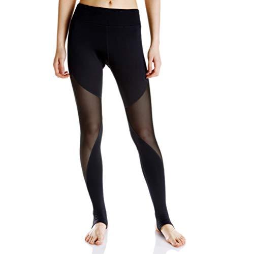IMIKEYA Pantalones de Malla de Yoga Leggings de Gimnasio Entrenamiento Correr Fitness Estiramiento Medias de Yoga Mujeres Artículos Deportivos (Negro) Talla L