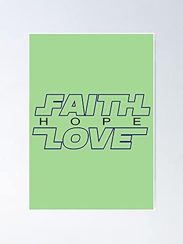 AZSTEEL Póster de Faith Love Hope para tía religiosa, 29,7 x 41,9 cm para amigos y familia