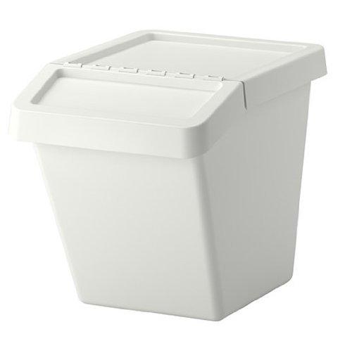 イケア IKEA SORTERA 分別ゴミ箱 ふた付, ホワイト (幅: 39 cm 奥行き: 55 cm 高さ: 45 cm 容量: 60 l, ホワイト)