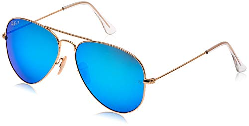Ray-Ban AVIATOR LARGE METAL – MATTE GOLD Frame BLUE MIRROR POLAR Lenses 58mm Polarized