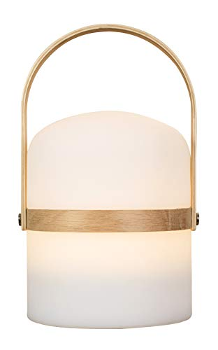 LUUK LIFESTYLE Lampara de salón de Mesa, Design Linterna, LED, Nordic Decor, lámpara de jardín, luz, lámpara, luz LED, Linterna, Interior, Exterior, Regulable, Recargable, conexión USB, Madera