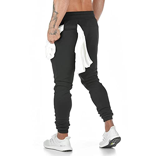 KKLLHSH Camo Joggers Pantalones de chándal Hombres Slim Casual Pantalones de Color Sólido Gimnasios Entrenamiento Ropa Deportiva Otoño Masculino Fitness Track Pantalones, Negro, M