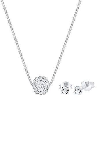 Elli Schmuckset Collier Kugel Swarovski® Kristalle 925 Silber