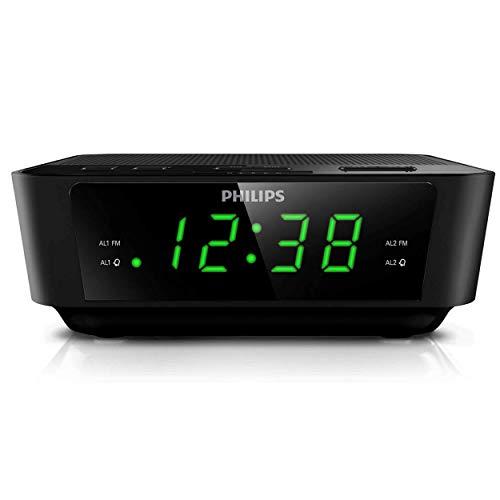 PHILIPS Digital Alarm Clock Radio for Bedroom FM Radio, LED Display, Easy Snooze, Sleep Timer, Battery Back up (Batteries Sold Seperately)