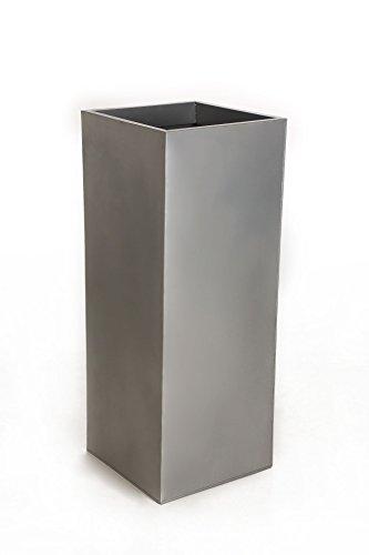 VIVANNO Einzel Zink Blumenkübel im Block Design 65 cm, Silber, inkl. Einsatz