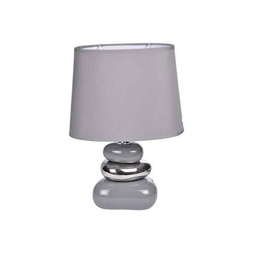 Paris Prix - Lampe à Poser Design 3 Galets Brillants 30cm Gris