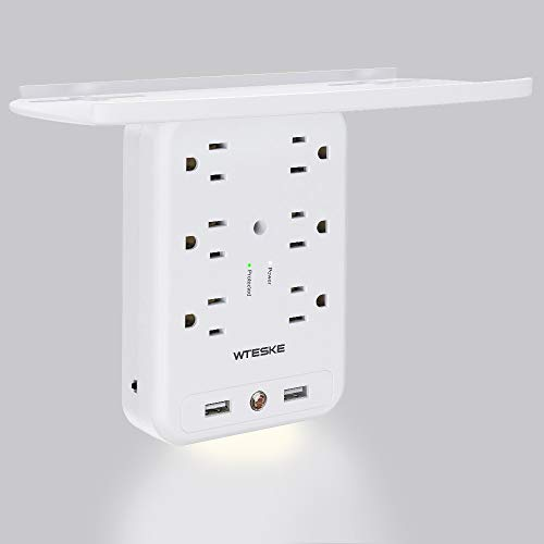6 Outlet Socket Wall Shelf Surge Protector 1700 Joules, Wall Mount Outlet Extender Multi Plug with 2 USB Charging Ports, Smart Night Light and Removable Built-In Shelf (USB)