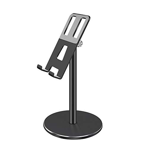 Jin-Siu Cell Phone Stands Table Stands for Phone Desktop Rack for Tablet Adjustable Support for Pads Live Playing Game for Bed for Desk (Color : Black)