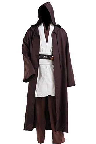 Disfraz de Jedi para hombre, disfraz medieval, disfraz de Halloween con capucha y uniforme completo, blanco, XXS