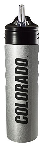 University of Colorado Boulder-24oz. Stainless Steel Grip Water Bottle with Straw-Silver