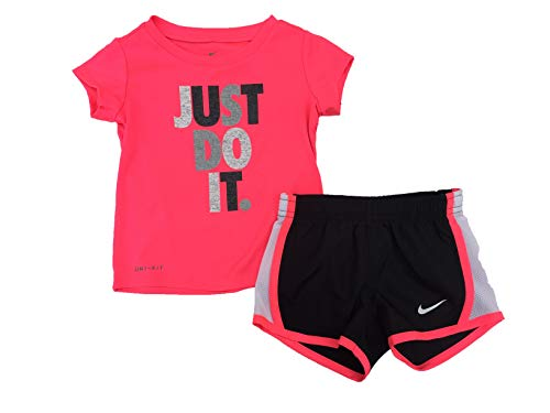Nike Girl`s Graphic Print T Shirt & Shorts 2 Piece Set (Black(16D263-023)/Pink/White, 12 Months)