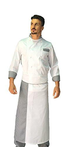 tessile astorino Kostenlose Stickerei – Küchen-Set – Trikot für Salz und Pfeffer – Hose, Jacke und Schürze – Made in Italy, Komplett mit Fußteil., Weiß Large