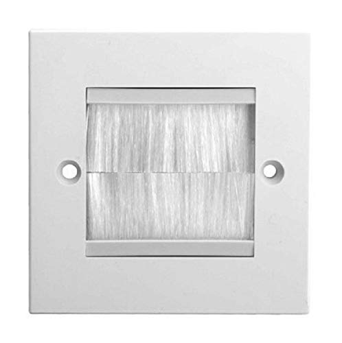 K M Electronics Single Width Cable Tidy Entry Exit Faceplate Wall Plate with White Brushes
