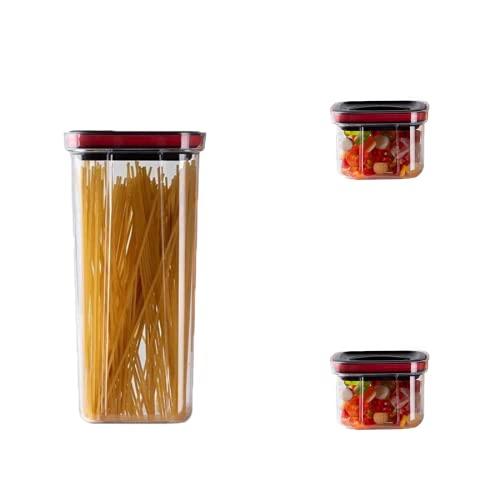 Batchelo Juego de 3 tarros de comida con tapa, reutilizable, apilable, hermético, para leche, polvo y bocadillos, 2000 ml, 600 ml